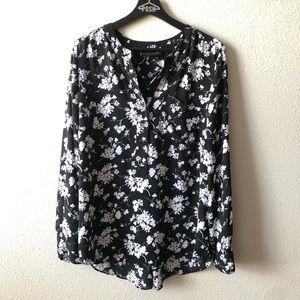Lane Bryant Black & White Floral Blouse Sz 14/16